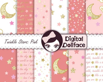 Baby Star Digital Paper, Twinkle, Twinkle Little Star Birthday Party, Blush and Gold Baby Shower Digital Paper