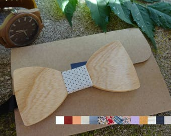 Personalized wood bow tie ribbon and engraved text, custom bowtie ash wood
