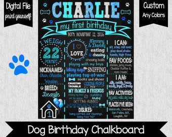 Puppy Party Chalkboard - Digital - Dog First Birthday Chalkboard - Puppy Party - Doggie's 1st Birthday - BowWow Chalkboard - Paws - Woof