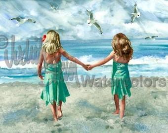 """Beach Sisters, Friends, Beach Girls, Seashore, Aqua Sun Dresses, Seagulls, Watercolor Painting Print Wall Art, Childrens Decor """"Rompin Room"""""""