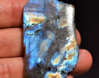 100 % Natural Labradorite Gemstone, Labradorite Rough Slice, Puple Flashy, Both Side Polished,  46x28x6 MM, Wt 72 Cts, Loose Jewelry, Sk 14