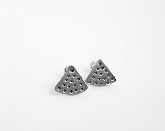 sterling silver tribal earrings, boho silver stud earrings
