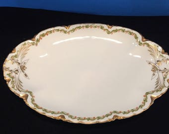 Antique Small Haviland Limoges Clover and Shamrock Platter
