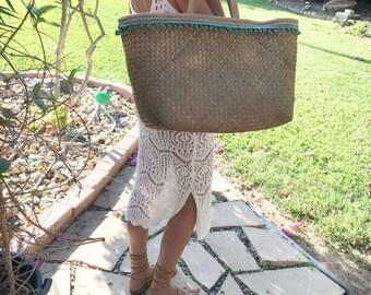 Straw Beach Bag -  Leather Weekend Bag -  Large Beach Tote - Summer Beach Tote - Turquoise Beach Bag - Large Straw Basket - Free Shipping