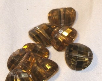 1950s Austrian Crystal PAGODA BEADS 15mm vintage Glass potato chip (lefts)
