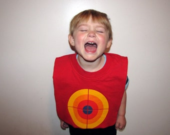 Food Goes in Here -- Baby / Toddler Bib, Upcycled, Recycled T-Shirt, Cotton, Reversible, Target, Bull's Eye, Red, Yellow, Shower Gift, OOAK
