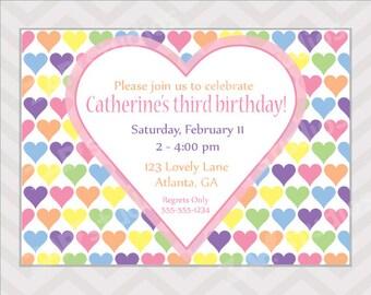 Pastel Hearts Birthday Party Invitation - Printable Pastel Rainbow Invitation