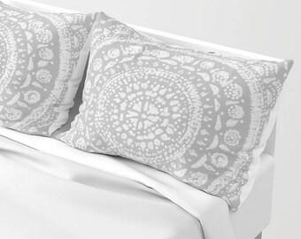 Grey Pillow Shams, Set of 2, grey pillow case, grey pillow sham, gray pillow sham, light grey pillow, light gray pillow, gray pillow shams