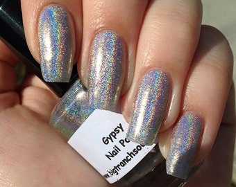 "Holographic Silver Nail Polish Top Coat - Free U.S. Shipping - ""Gypsy"" - 0.5 oz Full Sized Bottle"