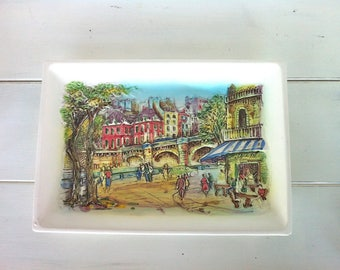 Ceramic 3D Paris Scene Platter/Parisian Street Scene Serving Platter/Paris Home Decor/Parisian Street Scene/Vintage Rectangular Platter