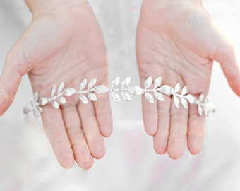 The Athena - Simple Silver Leaf Crown, Silver Leaves Headband, Bridal or Special Occasion Boho Headband, Halo