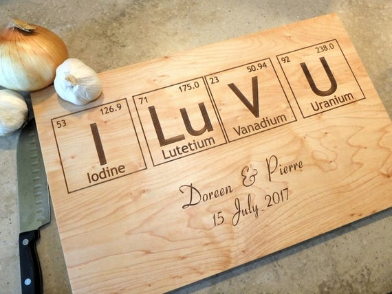 Periodic Table Cutting Board Engraved with Names & Wedding Date in Cherry, Maple, Walnut and White Oak Wood