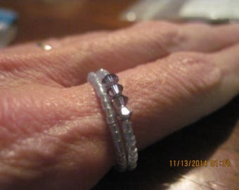 Toho Lavender Luster & Violet Swarvoski Double Band Memory Wire Ring...Hand Made... OOAK...1522h