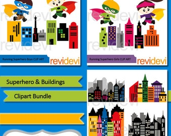 Superhero clipart bundle sale / superhero buildings clip art commercial use / Superheroes running above city buildings clipart