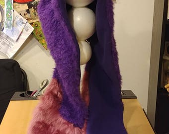 """Animal Ear Hat: """"Purple People-Eater"""" Fleece-lined Hooded Scarf with Paw-shaped Pockets"""