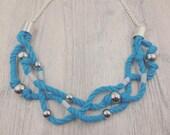 Light Blue Three Strand Rope Necklace