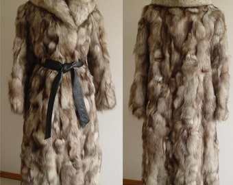 CHIC!!! SEMI-FITTED Blue Fox Sections Coat Size 9
