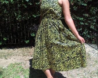 Summer dress, green,black,dress,medium,rayon dress