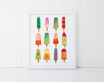 Popsicle Print » Summer Wall Art » 4x6 5x7 8x10 11x14 » Beach Art Print » Watercolor Printable » Beach Decor » Summer Decor » Digital Print