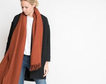 merino scarf - rust