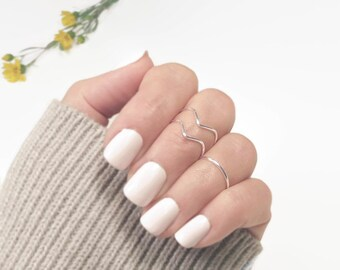 Knuckle Ring Set, Stacking Rings,  Midi Ring Set, Above Knuckle Rings, Ring set of 3, 2 Chevron 1 Band Adjustable, Gold or Silver Tone