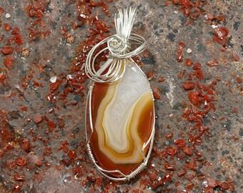 Natural Orange Botswana Agate Pendant