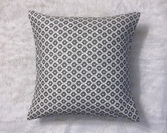"""Grey and White Jacquard Pillow Cover 