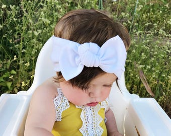 Solid White - baby top knot headband
