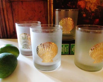Four Culver Glasses, Gilded Clam Shell, Hollywood Regency, Frosted Double Old-Fashion Glassware, Palm Beach Decor