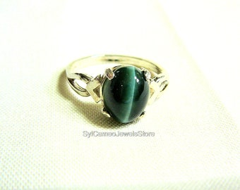 Green Tigers Eye Gemstone Midi Sterling Silver Ring Jewelry SylCameoJewelsStore