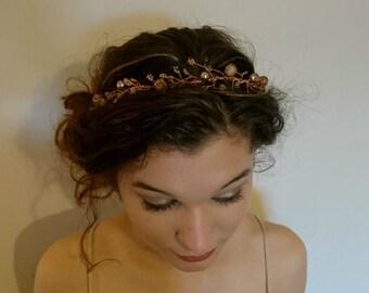 Rose Gold Pearlescant Glitter Hair Vine