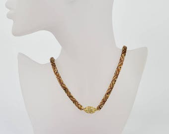 Bead crochet necklace gold - brown mix - Beaded crochet rope - crochet necklace