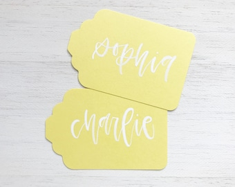 Sunshine Handwritten Gift Tags with White Ink Writing for Wedding or Event // Modern Calligraphy Favors, Handwritten Tags, Yellow Wedding