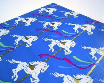 Vintage 1980s  All Occasions Wrapping Paper Blue Carousel Horse Gift Wrap