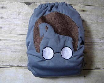 Potter Head {Embroidered} OS Ai2 w/ Bamboo Insert Cloth Diaper All in Two