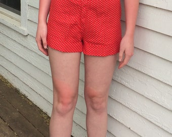 Red Polka Dot Shorts High Waist Vintage S Vintage 60s 50s Pinup