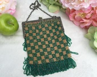 Antique Green Beaded Mesh Purse, Art Deco, Checker Checked Vintage, 1920's, Flapper, Gatsby, fringe, handbag, evening bag, Downton Abbey