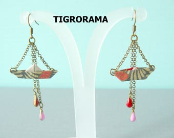 small boat origami Japanese paper earrings