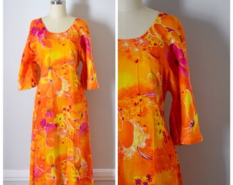 Vintage Dress / 60s Dress / Vintage 60s Dress / 70s Dress / 70s Maxi Dress / Maxi Dress / Mod / Neon / Floral Maxi Dress / Floral / Small