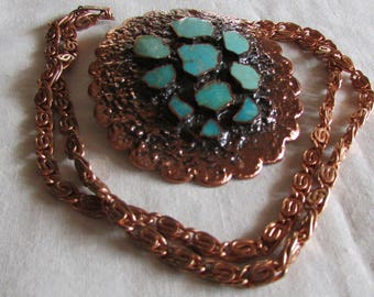 Copper Bell Turquoise and Copper Necklace