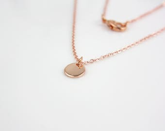 Rose gold circle dot - gold-plated necklace B12