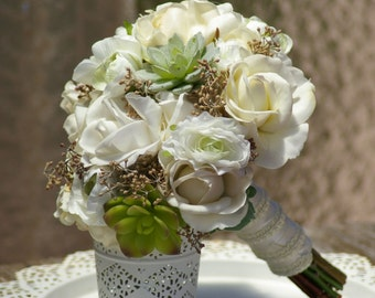 Bouquet and FREE Boutonniere Ivory Real Touch Roses Mint Cream Peony Succulent