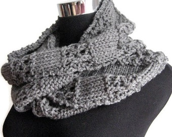 Grey Lace Stripped Infinity Scarf, Winter Accessories, The Stacey Scarf, Cowl Scarf, Grey Knit Circle Scarf, Vegan Knit Scarf Infinity Cowl
