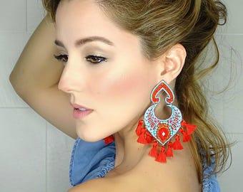 Boho Earrings Women,Long Fringe Earrings,Colorful Earrings,Tassel Earrings,Big Earrings,Wholesale Earrings,Boho Jewelry,Threader earrings