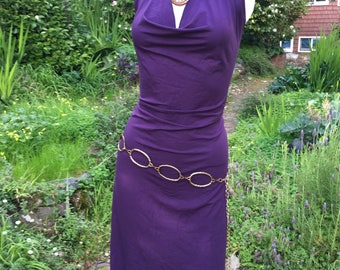 Veluna tango dress - purple stretch rayon