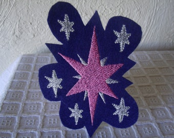 My Little Pony Twilight Sparkle Cutie Mark Embroidered Iron On Patch Pink Silver Stars