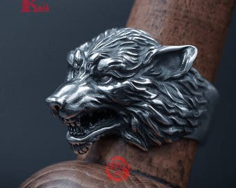 Sterling Silver 925 Wolf Ring,  Songyan Jewelry