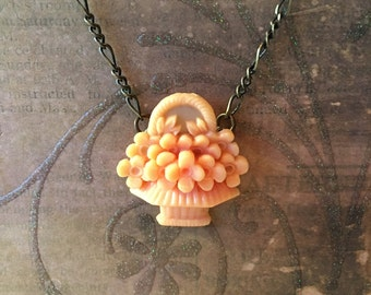 Celluloid Flower Basket Necklace