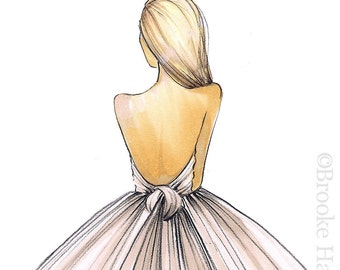 Gwen-Bride Fashion Illustration-Sketch-Fashion Print-Brooke Hagel-Brooklit-