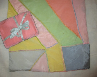 set of Vintage silk Crazy quilt pillow cover pastels hand embroidered and small silk ring pillow